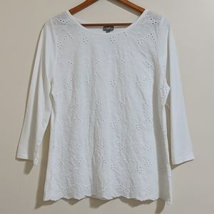 J. Jill Embroidered Long Sleeve Top